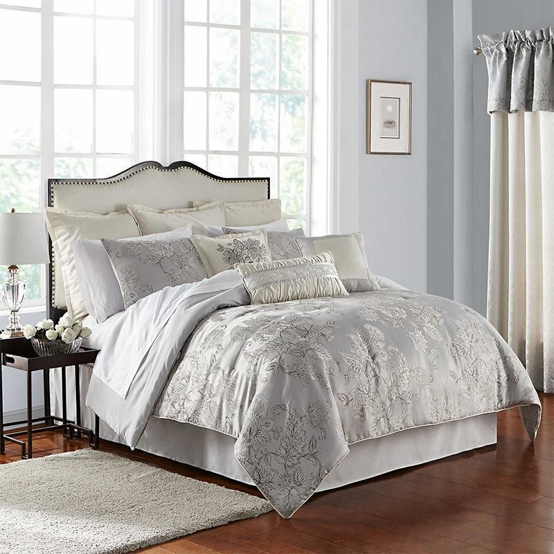 Lacy Silver 4 Piece Comforter Set Comforter Sets Elegant Comforter Sets King Comforter Sets