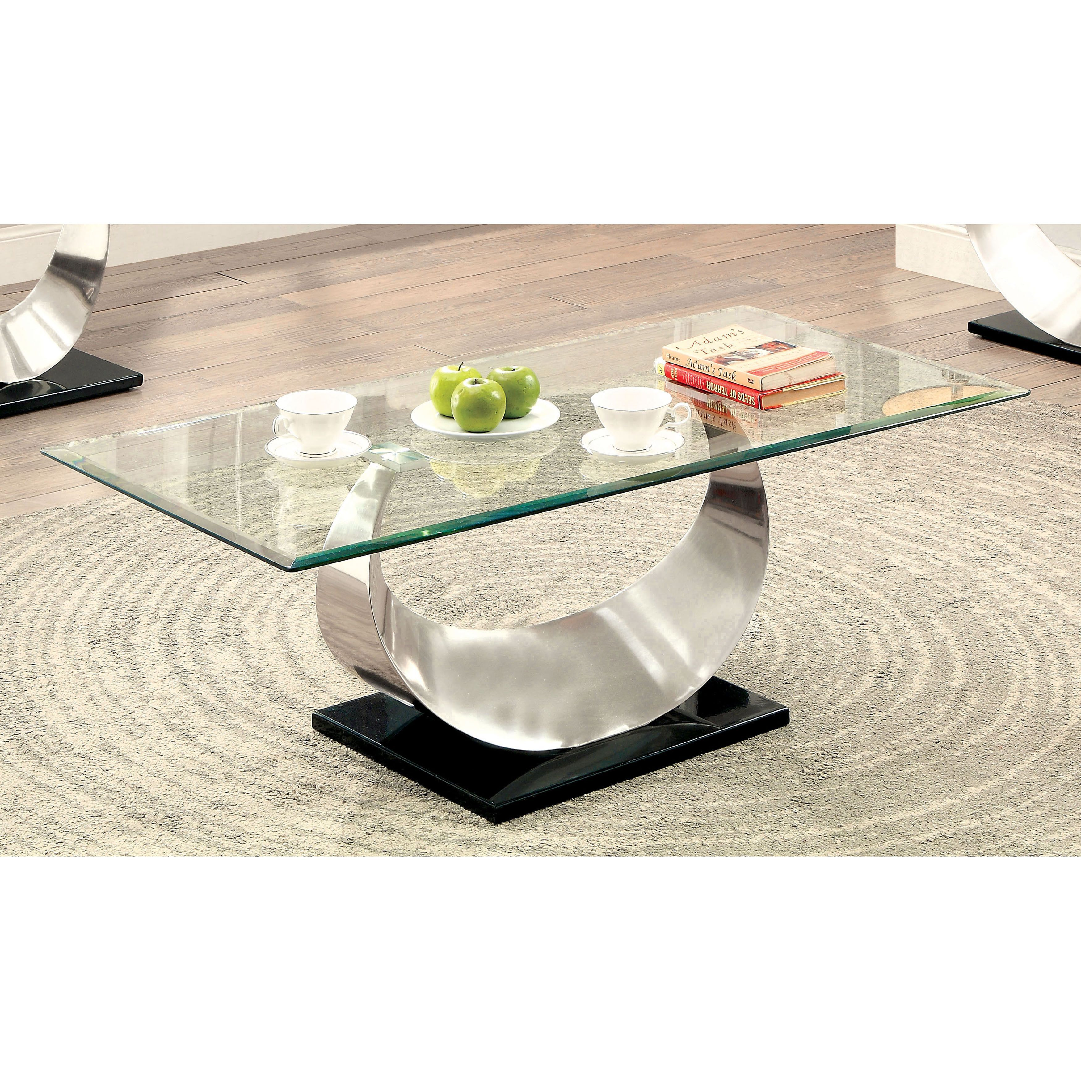 Furniture of america serenia contemporary satin metal glass top furniture of america serenia contemporary satin metal glass top coffee table satin plated clear geotapseo Images