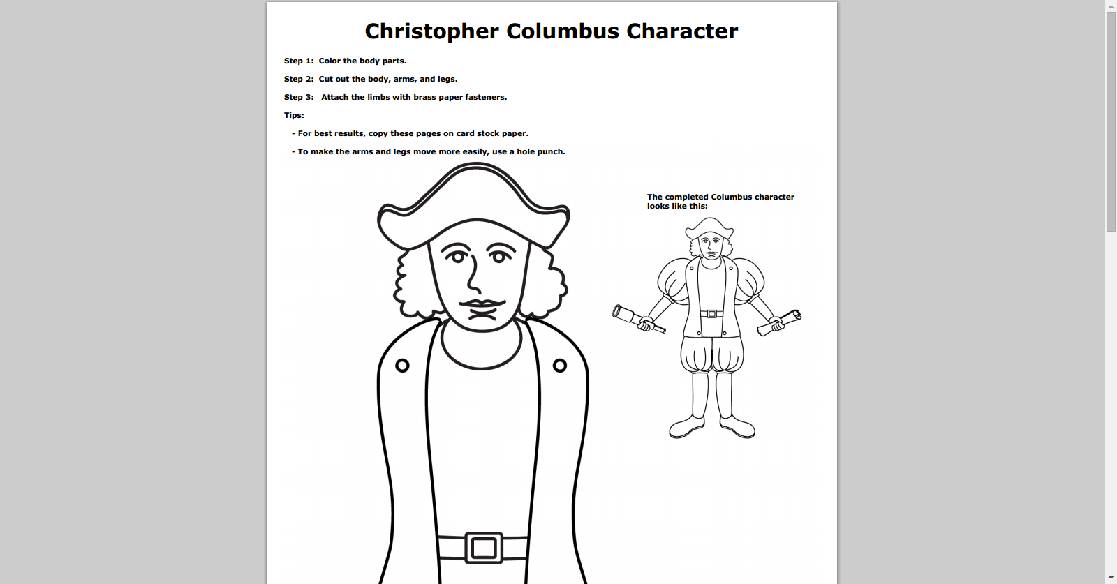 Free Christopher Columbus Paper Doll Printable