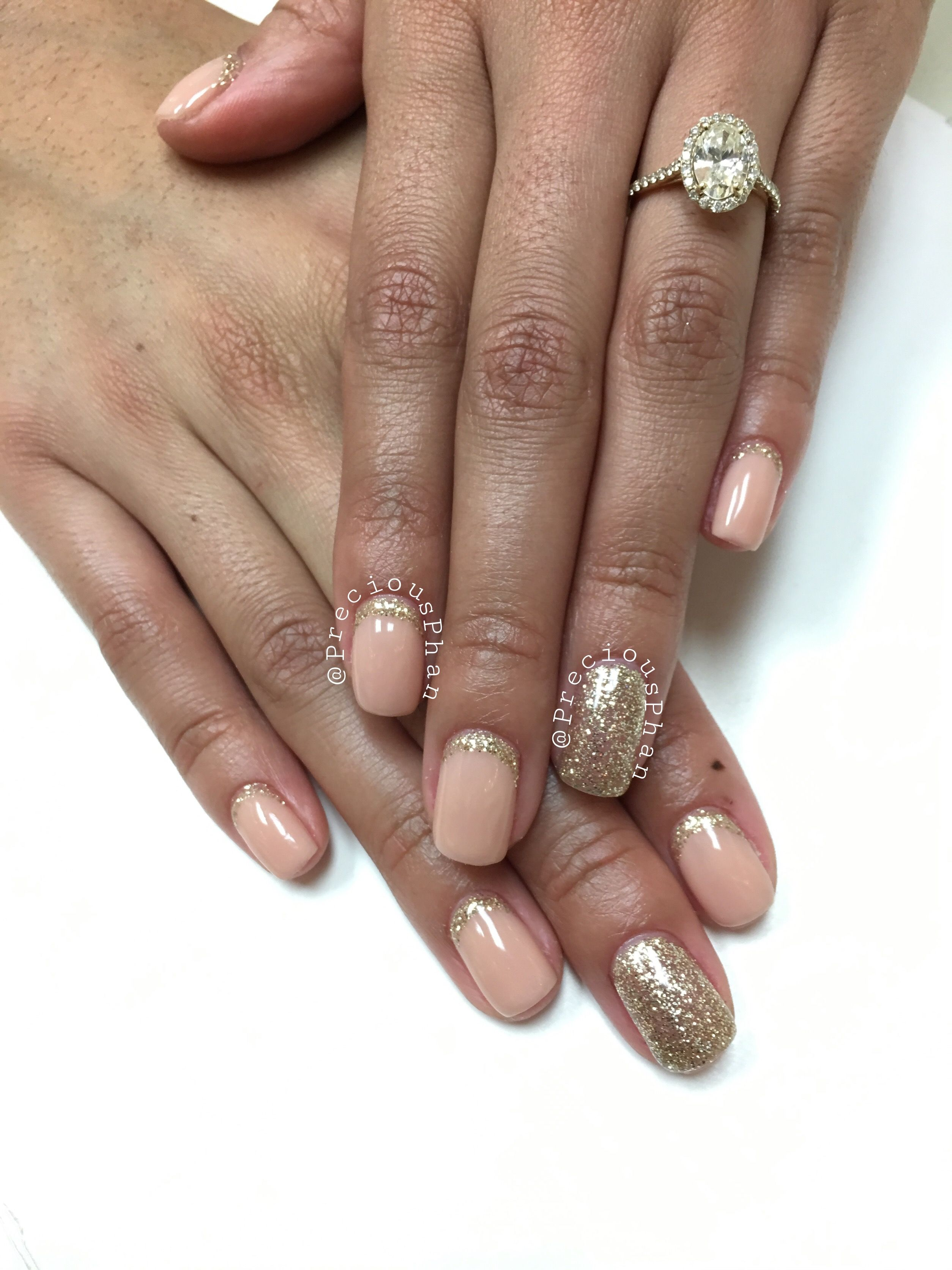 Nude nails with light gold nails. New year nails. #PreciousPhan