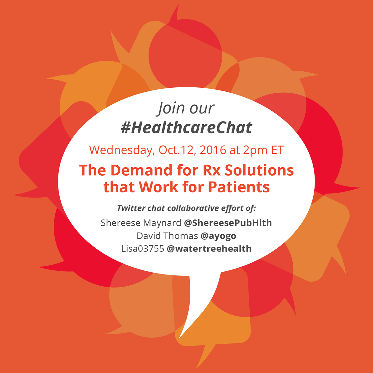 "Ayogo on Twitter: ""Join us Wed. at 2pm est for #HealthcareChat #RX Solutions that work for patients #pharma @ShereesePubHlth @Lisa03755 @watertreehealth https://t.co/lWEAFsJtny"""