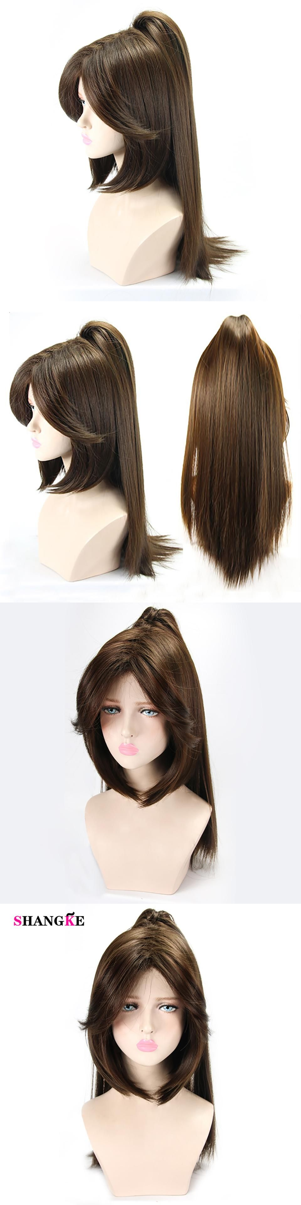 Shangke Dark Brown Wigs Long Straight Hair Ponytail Wig Synthetic Hair Halloween Costumes Party Heat Resist Long Straight Hair Straight Hairstyles Ponytail Wig