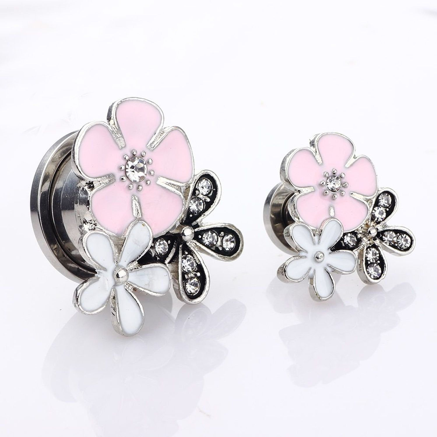 Pair Pink and White Flower Screw Fit Surgical Steel Plugs Sizes 6mm to 18mm