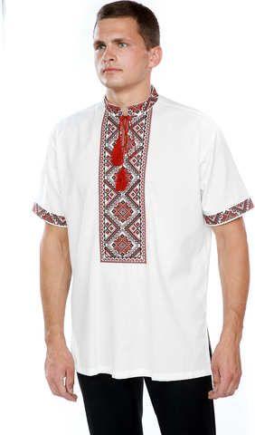 d0ed03022a193d Вишиванка чоловіча з червоною вишивкою на короткий рукав арт: 409-16/09  купити