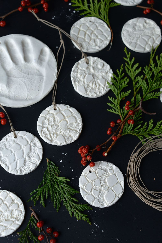 Diy Doily Print Baking Soda Clay Ornaments Clay Ornaments Baking Soda Clay How To Make Ornaments