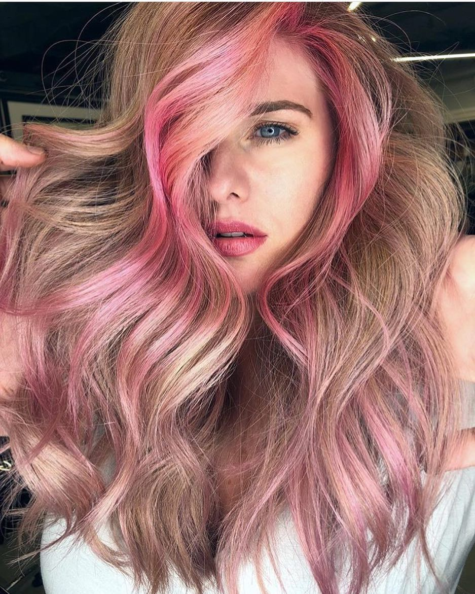 I M Dubbing This Cherry Blossom What Would You Name It By Sonego Brothers Blonde Hair With Highlights Hair Styles Girl With Pink Hair
