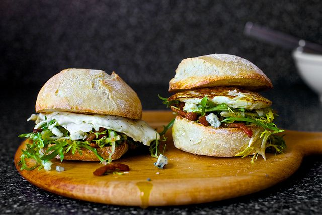 fried egg sandwich with bacon and bleu cheese by smitten, via Flickr