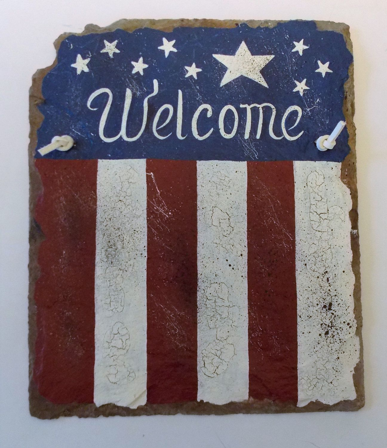 Decorative Slate Signs Extraordinary Welcome Slate Sign Hand Painted Slate Patriotic Slate Wall Art Decorating Inspiration