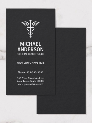 Medical doctor, general practitioner dark gray business card ...