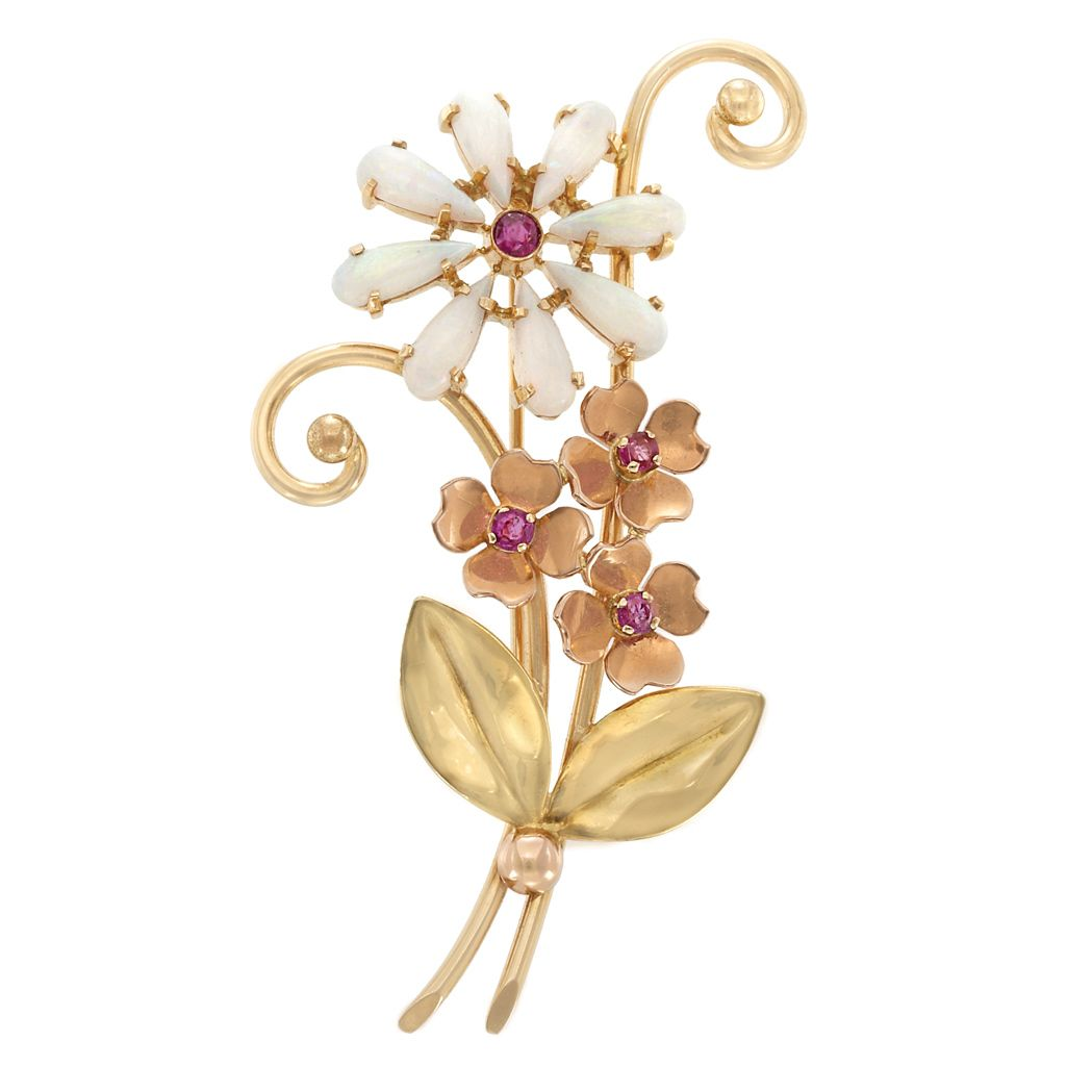 cec6c81c79b Two-Color Gold, Opal and Ruby Flower Brooch, Tiffany & Co. 14 kt. yellow & rose  gold, signed Tiffany & Co., c. 1945, ap. 7.3 dwts.
