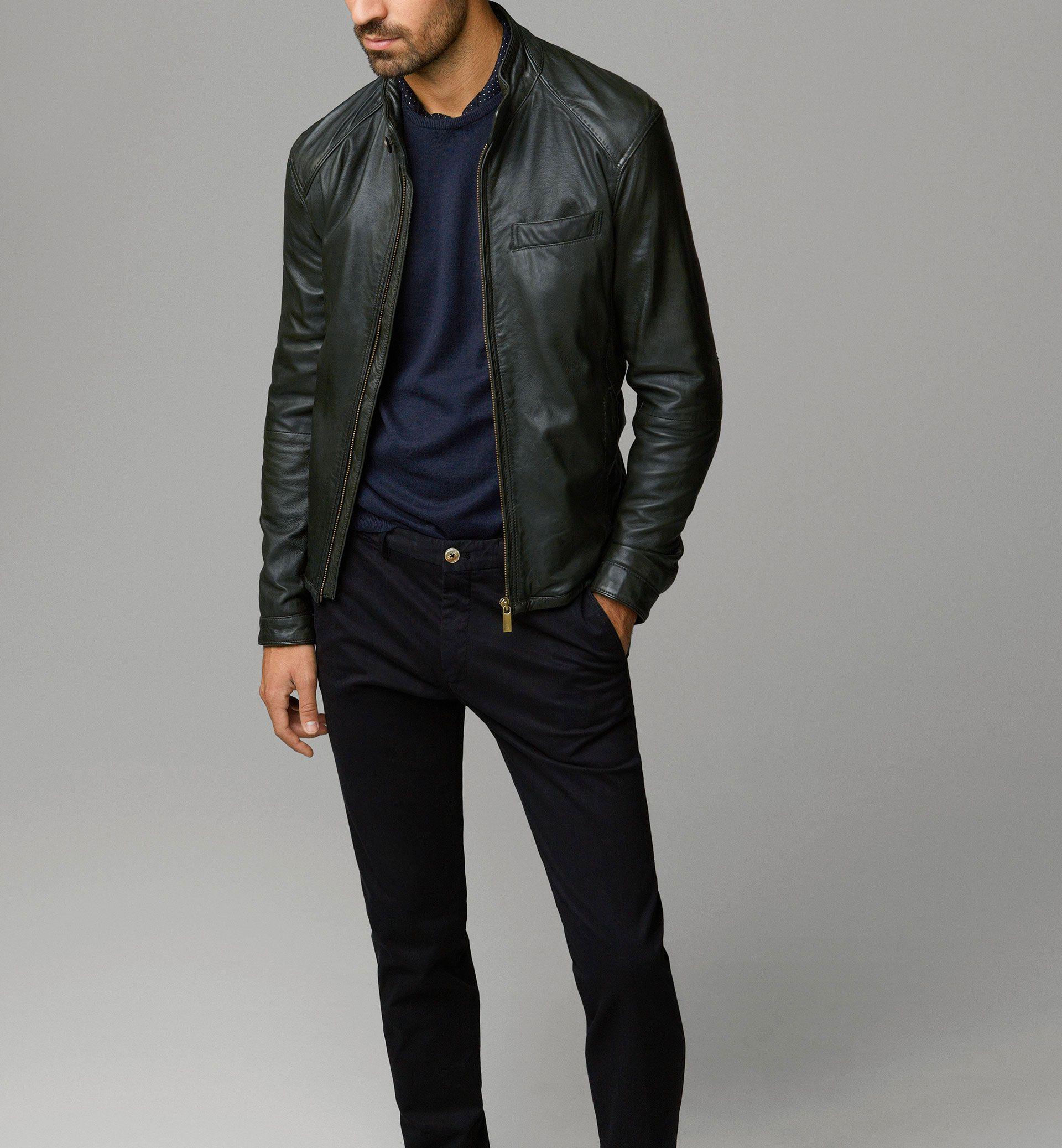 Men's jacket collar - Nappa Leather Jacket With Mandarin Collar