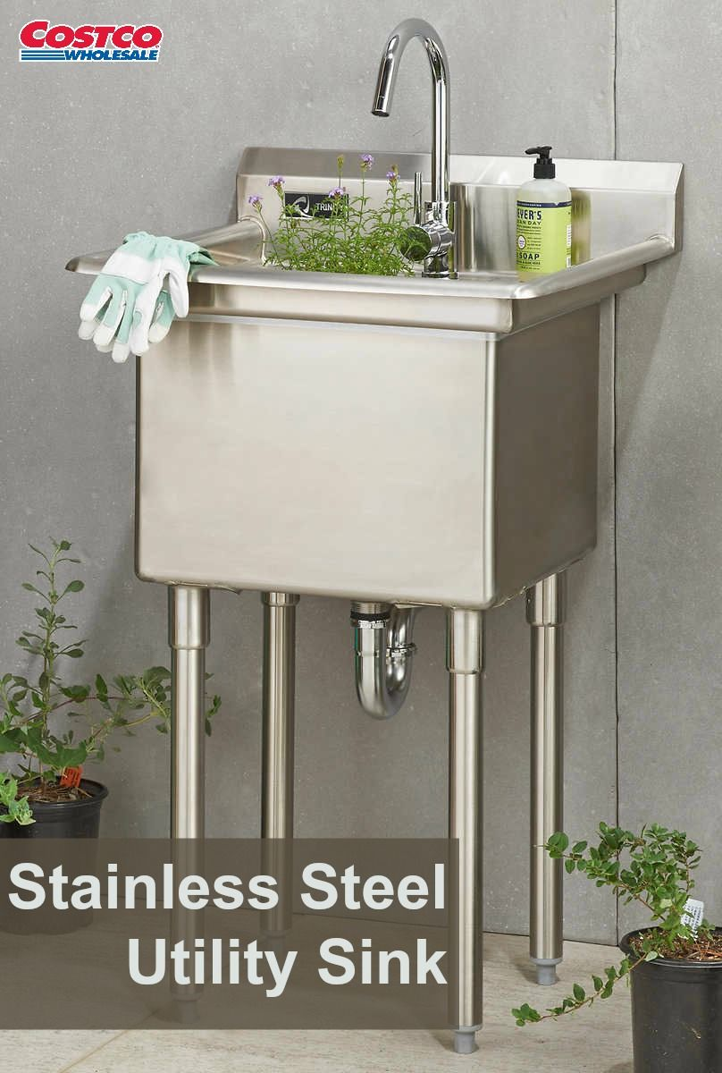 Trinity Stainless Steel Utility Sink With Faucet Stainless Steel