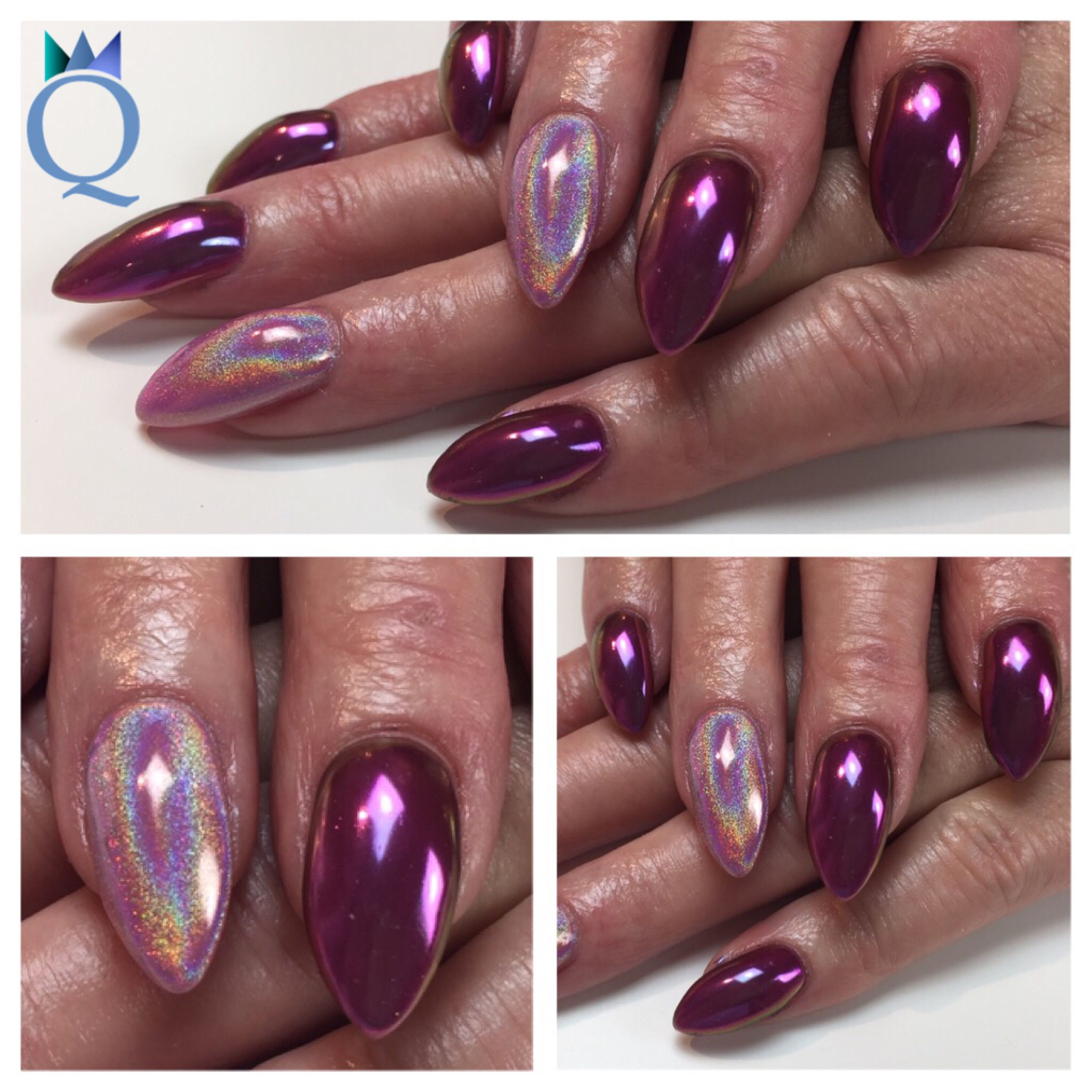 almondshape #gelnails #nails #holographicnails #chameleonnails ...