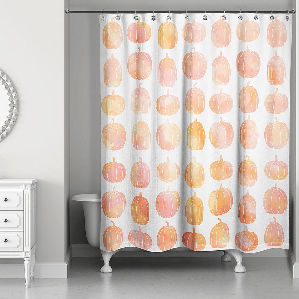 Watercolor Pumpkin Shower Curtain in Orange/White Orange
