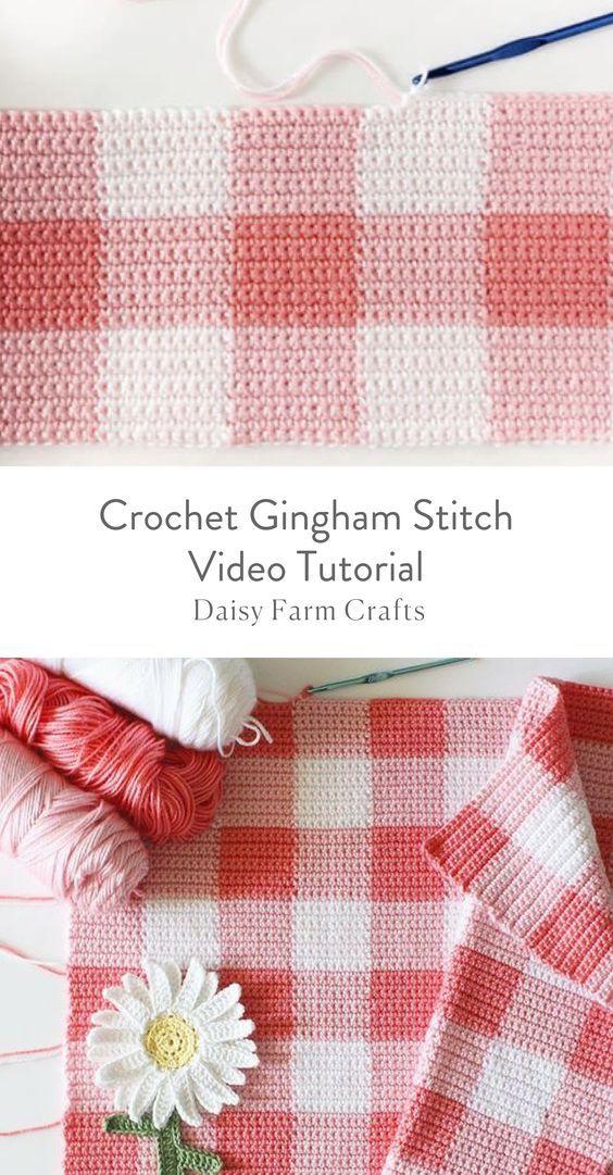 Crochet Gingham Stitch Video Tutorial Crochet Pinterest Häkeln