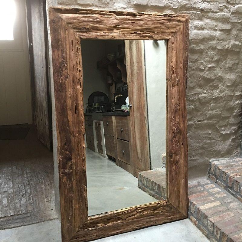 Grove teakhouten spiegel robuust landelijk grof hout groot for Mirror 80 x 50