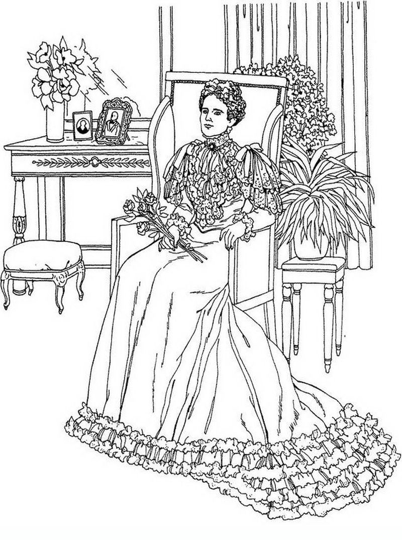 complex coloring pages of victorian woman fashion coloring