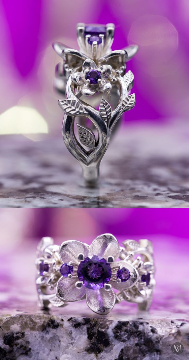 Detailed flower and leaf engagement ring studded with