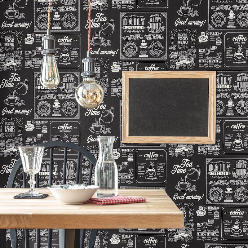Papier Peint Plat Du Jour Blanc Noir Au Bistrot D Alice Caselio En 2020 Papier Peint Papier Cuisine Salle A Manger
