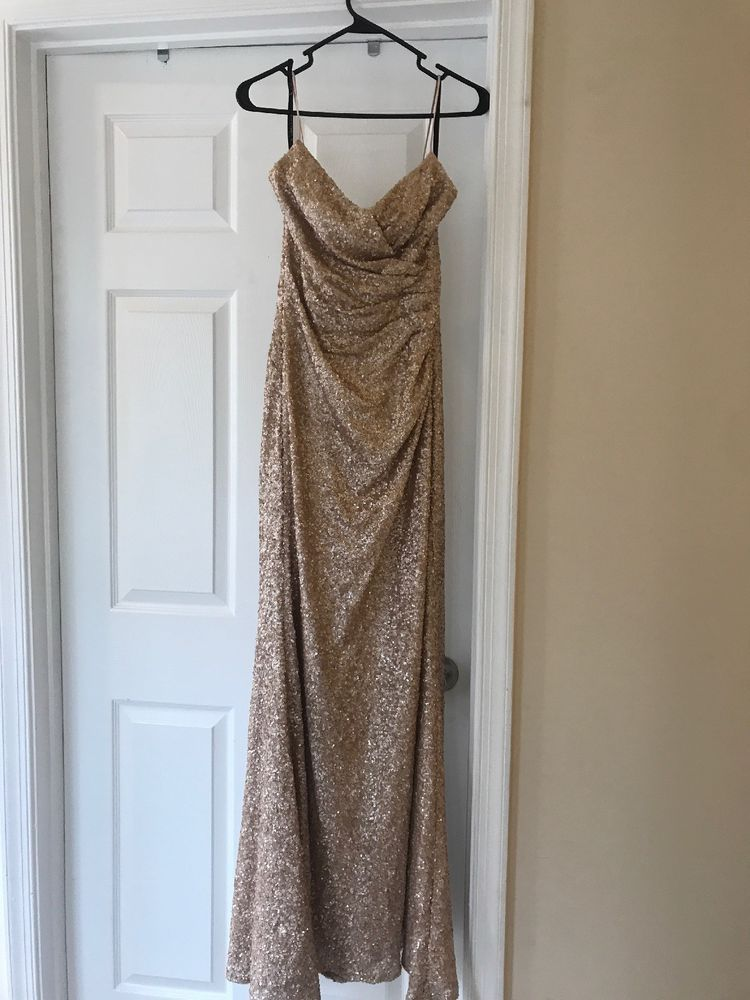 59ac0940 Sorella Vita gold Bridesmaid dress sequin 8834 size 10 Long with hem for  5'8' #fashion #clothing #shoes #accessories #weddingformaloccasion ...