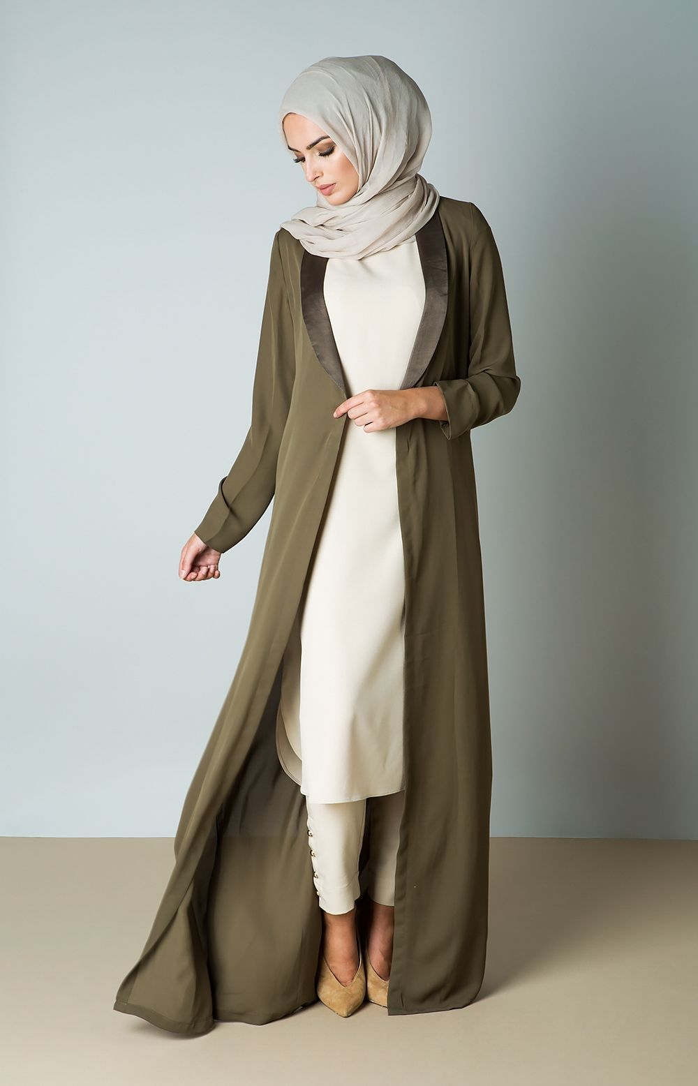 Aab UK Olive Duster Coat : Standard view | Muslim outfits ...