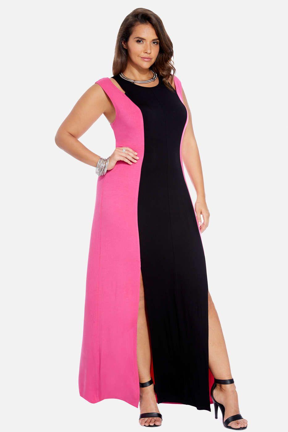 Plus Size Trista Color-Block Maxi Dress | Fashiontofigure.com ...