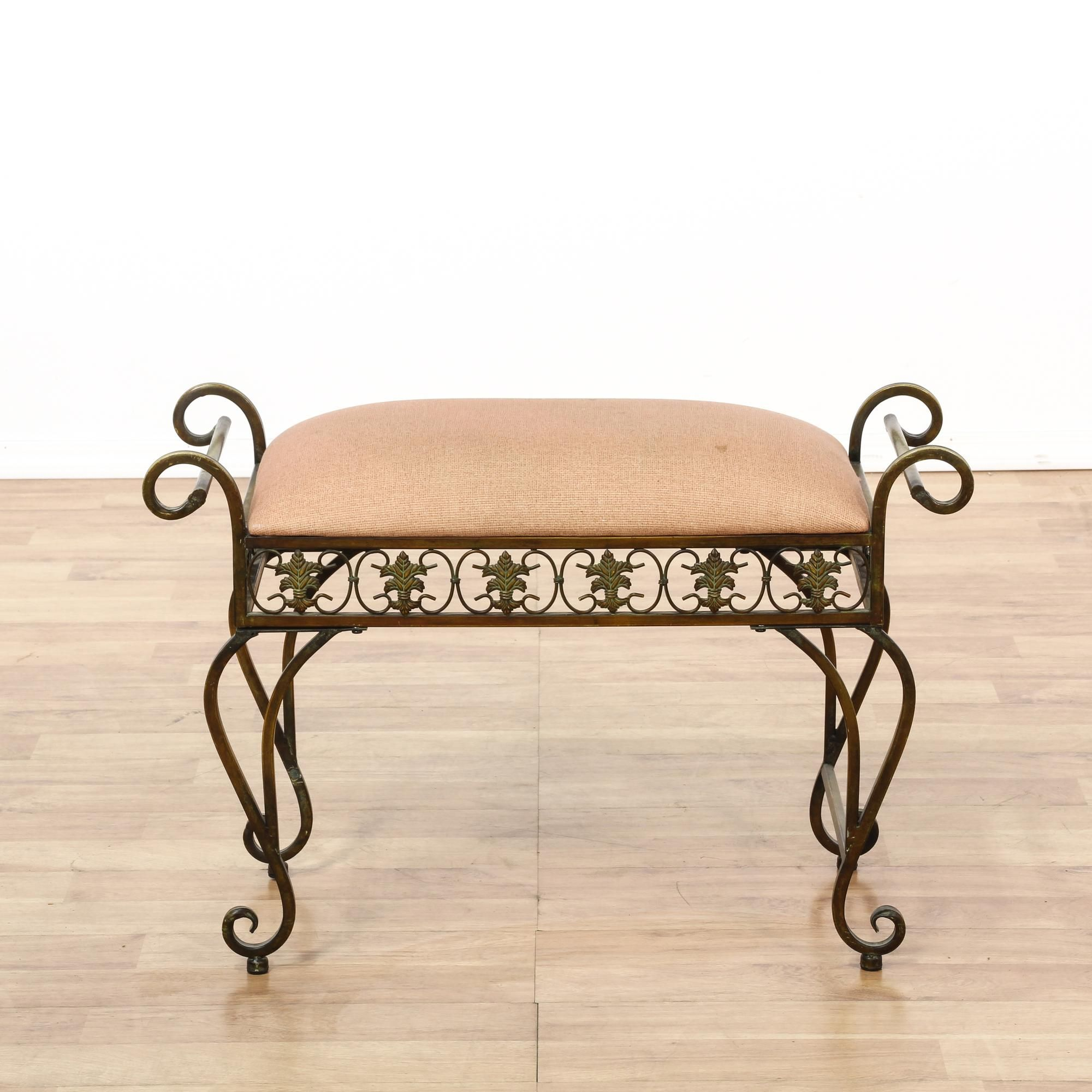 Vintage Vanity Stool Hollywood Regency Vanity Chair Gold Metal
