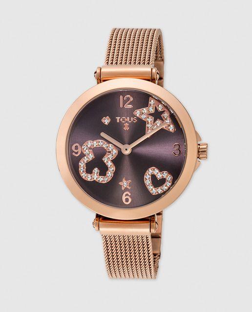 0a6324f24b6d Reloj de mujer Tous Icon Mesh de acero rosa