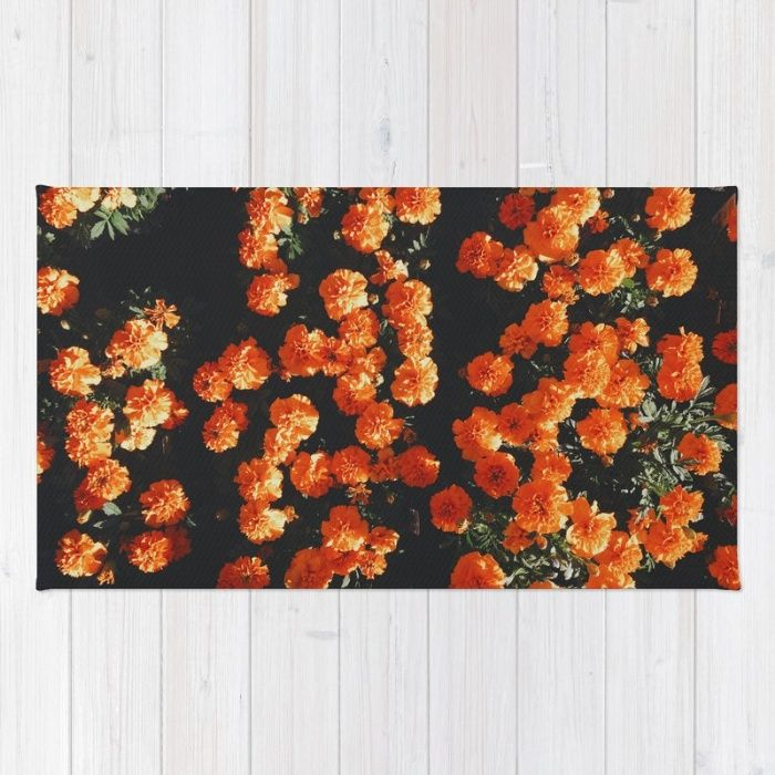 Orange Bloom Rug by Mixed Imagery | Society6
