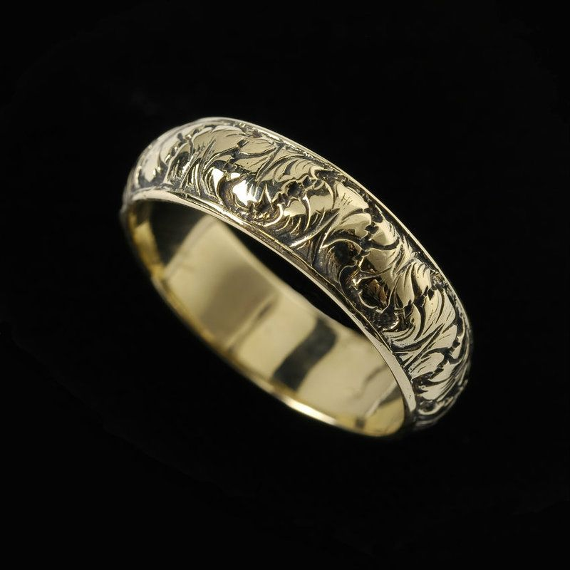 Engraved 18k gold Fig Leaf Ring Band custom handmade by Ned Bowman