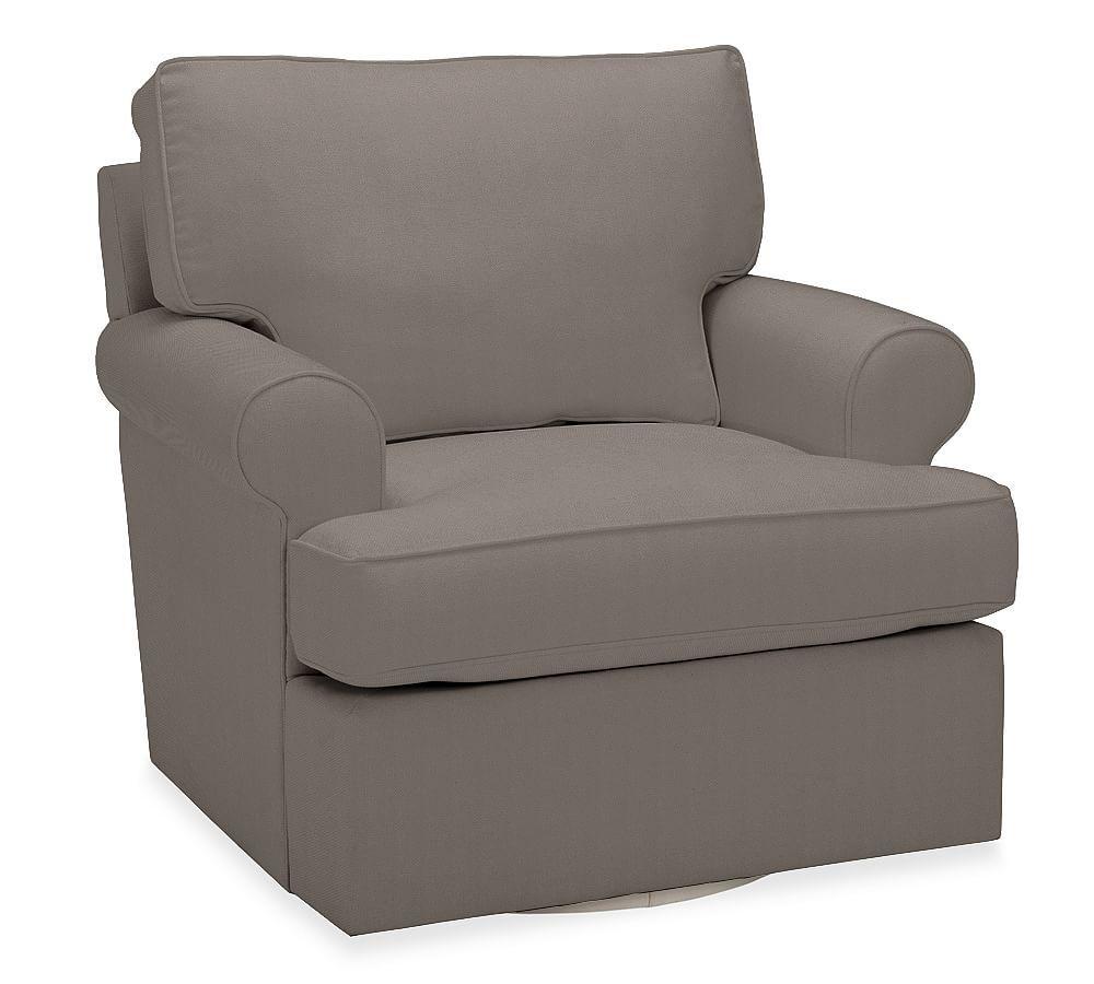 Buchanan Roll Arm Upholstered Swivel Armchair, Polyester