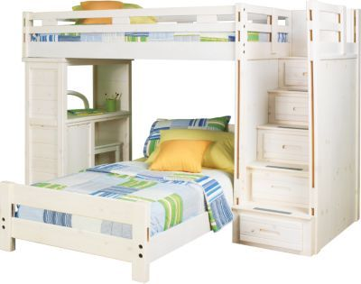 Creekside Stone Wash Twin Twin Step Bunk Bed W Desk Bunk Bed With Desk Modern Bunk Beds Girls Bunk Beds