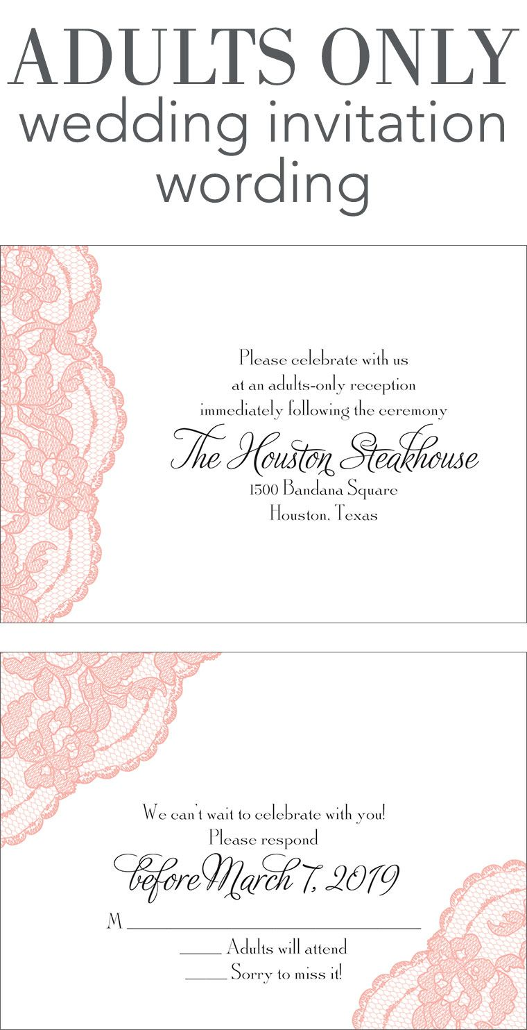 Adults only wedding invitation wording wedding help for Wording for wedding invitations with rsvp