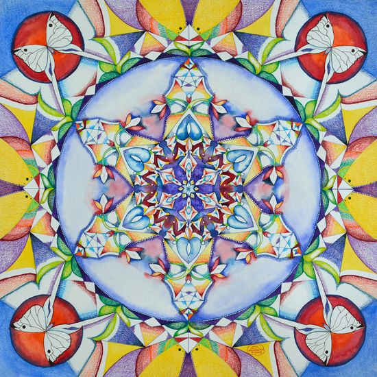 Mandala met vlinders van Lida Bruinen