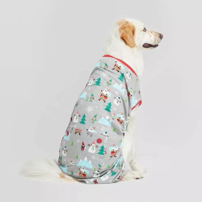 Holiday Winter Wonderland Pet Pajamas Gray