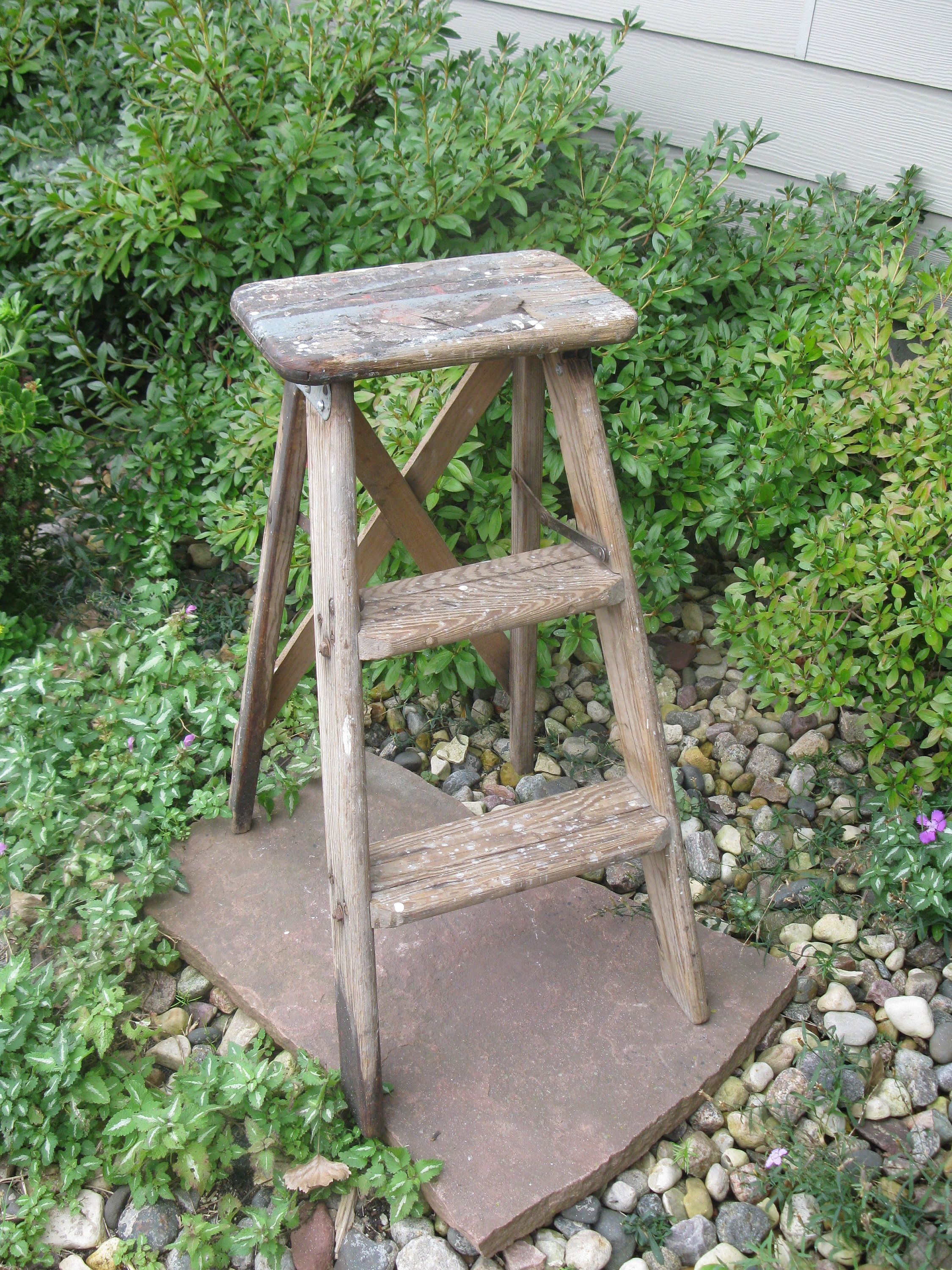 Shabby Wooden Step Ladder Step Stool Folding Ladder Plant Stand Rustic Vintage Primitive Wood Step Ladder Porch D Wooden Steps Step Ladders Wood Steps