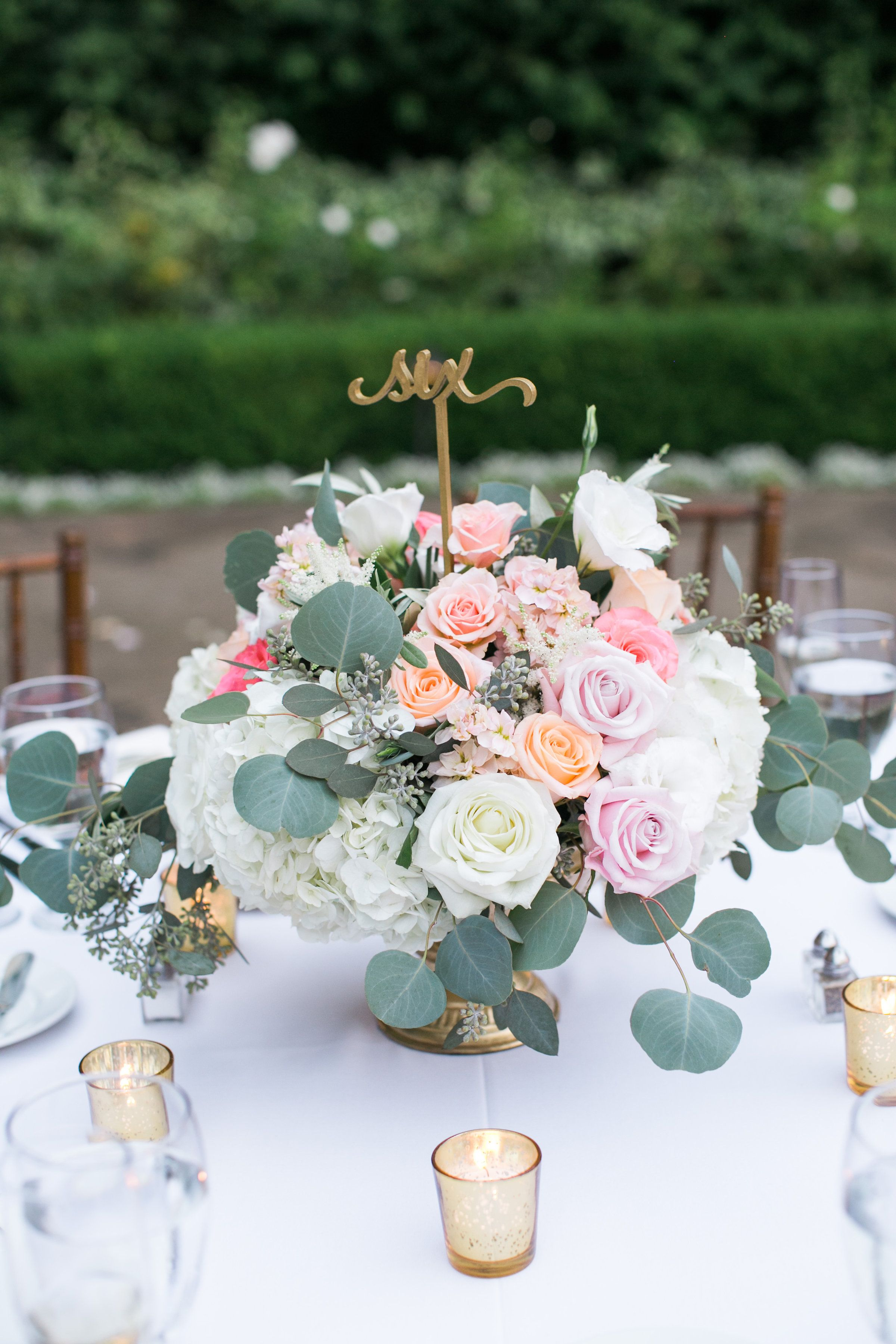 Blush Peach White Gold Low Centerpiece Roses