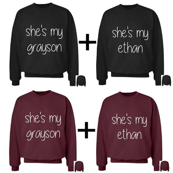 These are best friend crewnecks that come as a set of 2 which come in a variety of different colors and feature a text design on the front. If you would like to order them separately, please message me and I can make a separate listing with just one.  PLEASE PLEASE PLEASE CHECK THE SIZE CHART BEFORE ORDERING