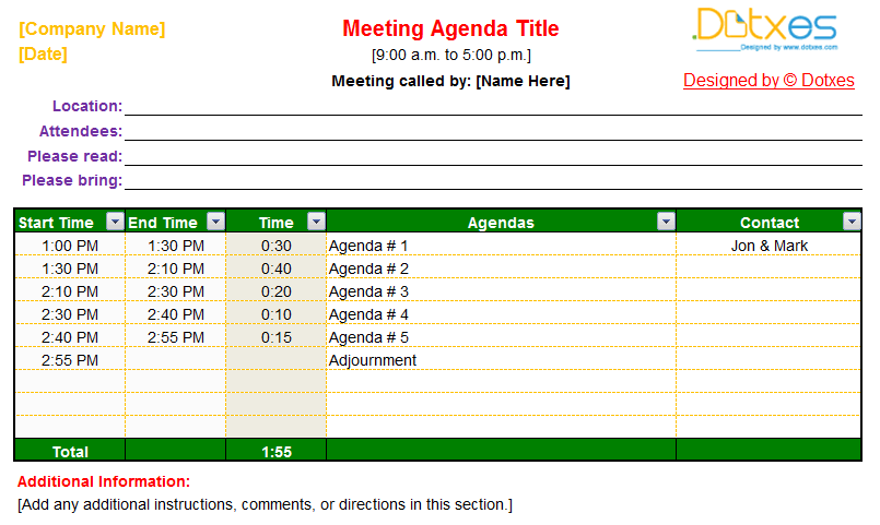 Meeting Agenda Template With Auto Adjust Functions