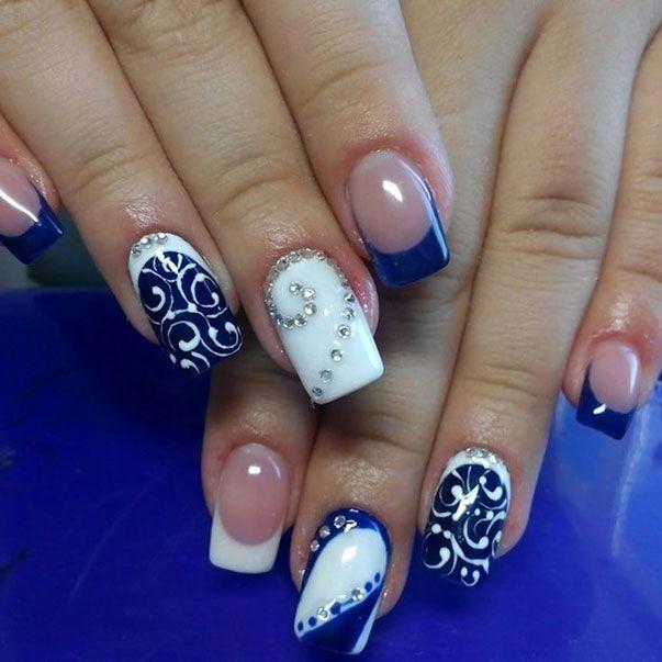 Two-colors Nail Design | Nail art blue, Color nails and White nails