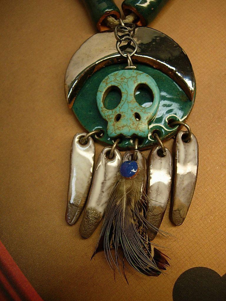 Primitive indian skull necklace u earrings terra cotta beads feather