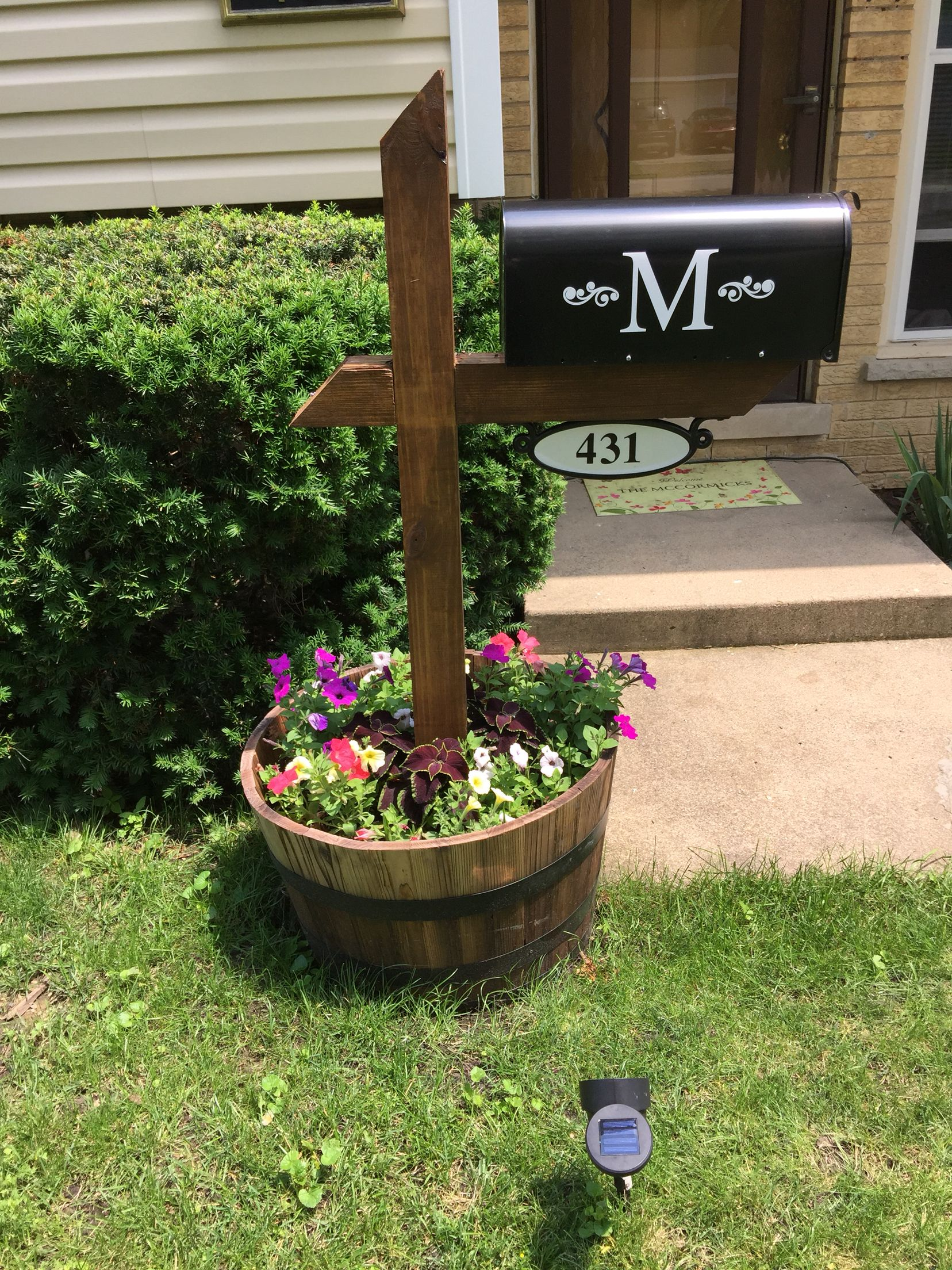 No Cement Needed Make A Hole Through The Barrel For The Post To Go Through M Sticker From Etsy Address Number Mailbox Garden Outside House Decor Diy Mailbox
