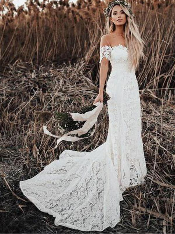 Off Shoulder Vintage Lace Mermaid Cheap Wedding Dresses Shore Sleeves Bridal Dresses Wd432 Wedding Dresses Cheap Wedding Dress Trendy Wedding Dresses