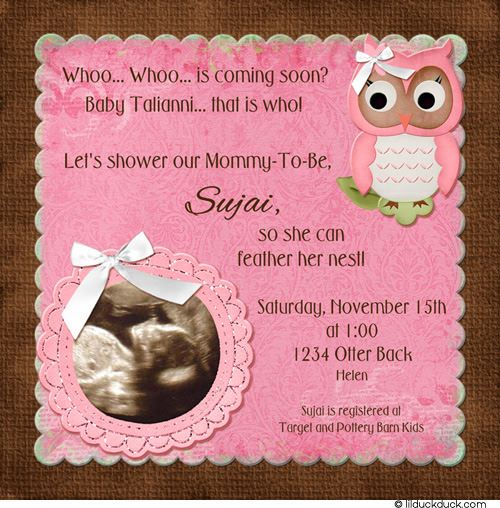 owl ultrasound invitation - pretty pink & brown baby shower photo, Baby shower invitations