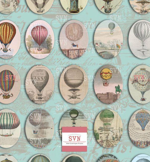 30 Hot Ballons Ovals   30 x 40 mm  Digital Oval por suvenireprints
