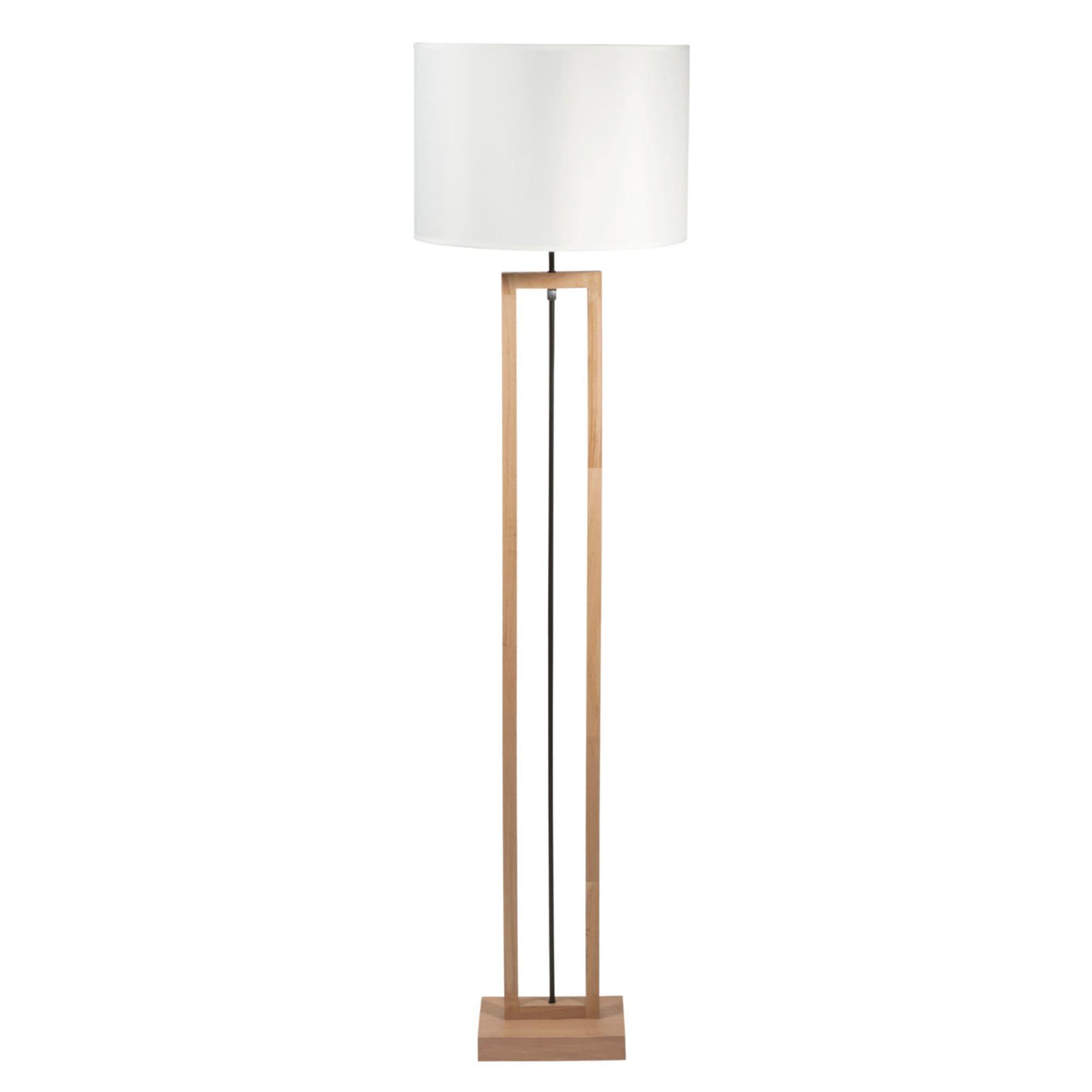 Staande Terminalia Houten Lamp Met Witte Katoenen Kap H165 Houten Lamp Lampen En Wit Katoen