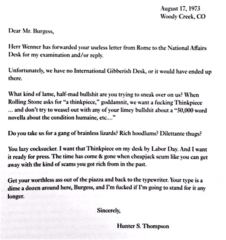 S ThompsonS Rejection Letter To A Famous Author Cheapjack Scum