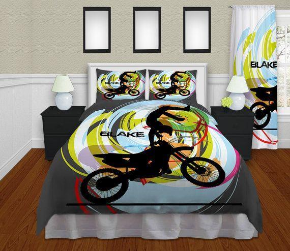 dirt bike bedroom ideas | Personalized Motocross Comforter ...