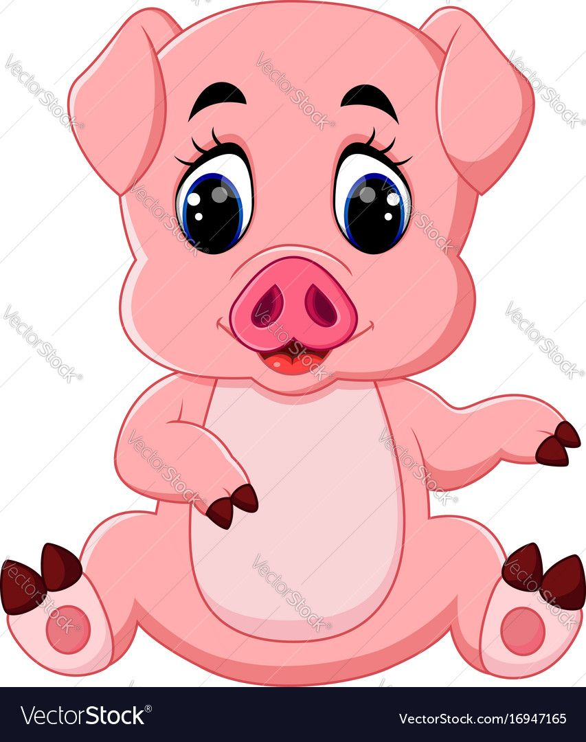 illustration of cute baby pig cartoon. Download a Free Preview or ...