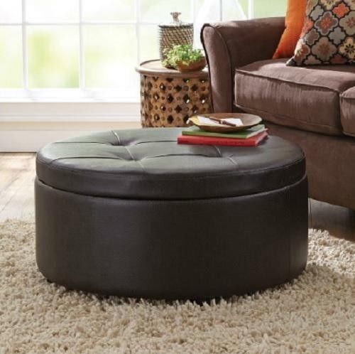 Round Storage Ottoman Brown Faux Leather WOOD TABLE TOP Coffee Table Modern  Mid
